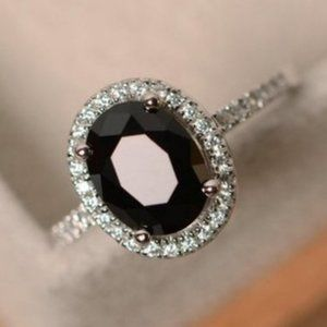 *NEW Silver Black Onyx Diamond Halo Oval Cut Ring